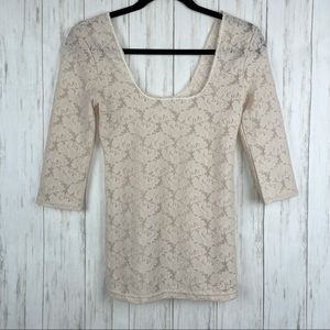 Free People Intimately cream lace scoop top